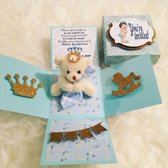 Boy baby shower exploding box invitation 3D explosion box