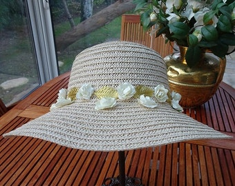 Straw hat woman for ceremony or wedding