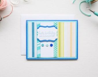 Blue Stripe Birthday Card, Handmade Greeting Cards