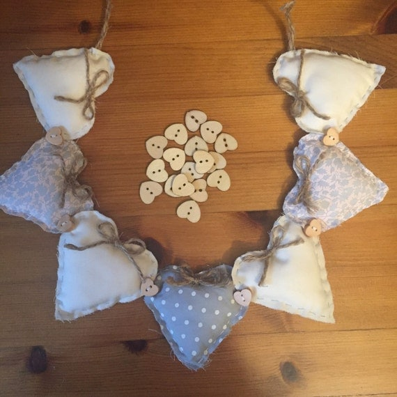 Shabby chic fabric heart garland country cottage wall for Shabby chic garland lights