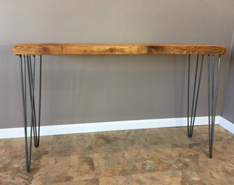 Superior Reclaimed Wood Console Table W/ Hairpin Legs, Handmade, Salvaged Barn Wood  Planks,