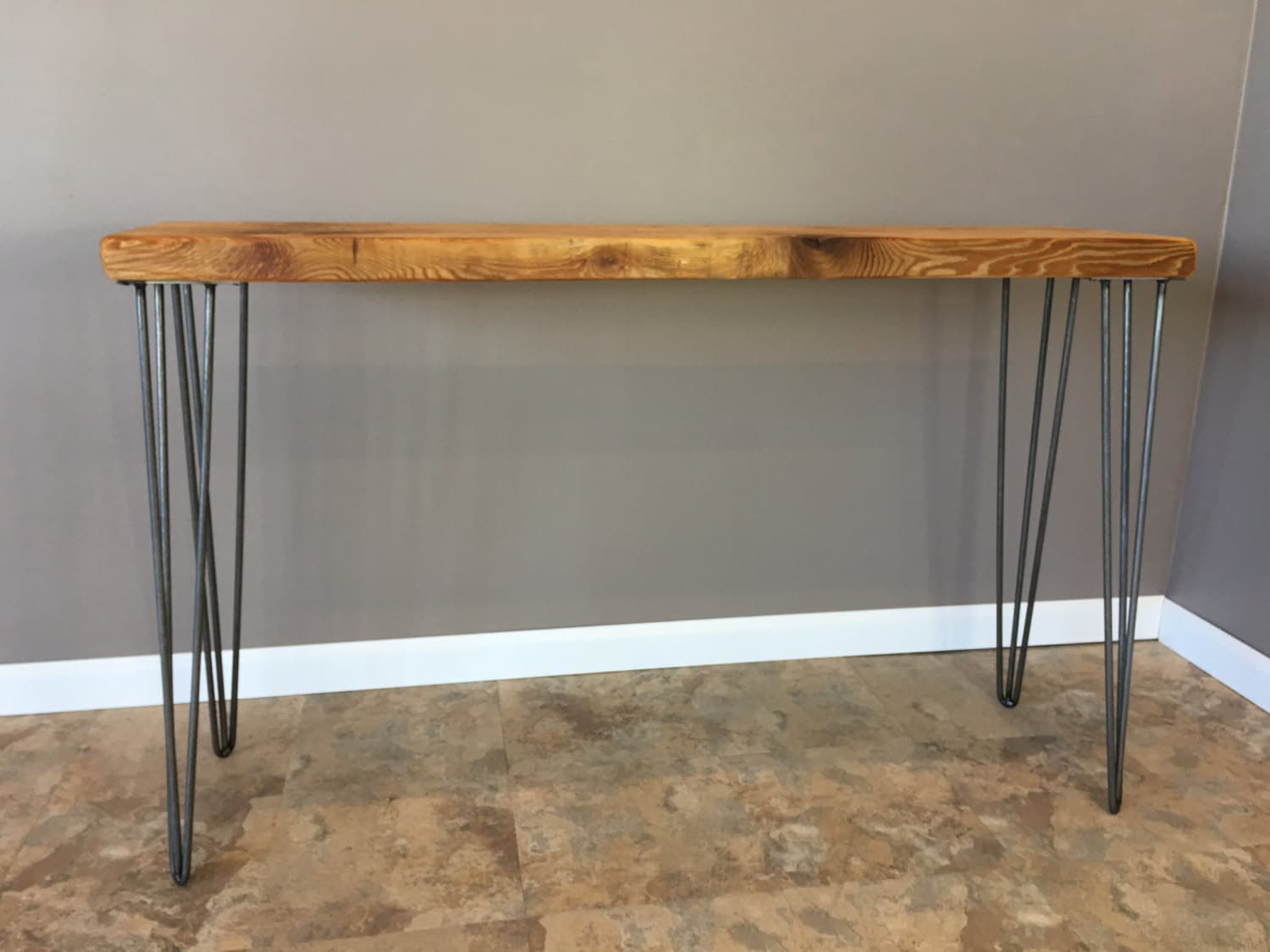 Reclaimed Wood Console Table W Hairpin Legs Handmade