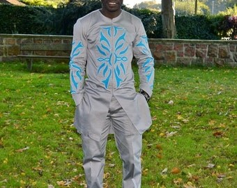 African made embroidered men's casual set