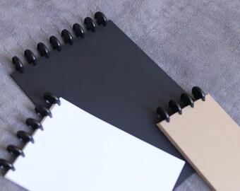 A5 Discbound Notepad - Kraft, White or Black Paper