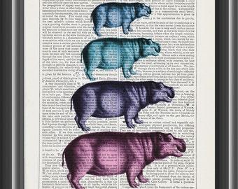 vintage hippo hippopotamus art print home decor wall art dictionary print #174