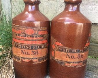 Vintage Complete Stoneware Stephens Ink Bottles  ||  Denby  ||  Writing Fluid  ||  Salt glaze - Shop Decor - Window Display - Prop