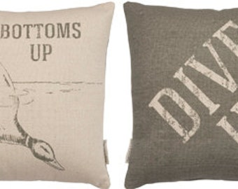Bottoms Up Dive In Lake Duck Camping Hike Glamper Adventure Camp Lodge Glamping Cabin Lake River Beach Throw Pillow