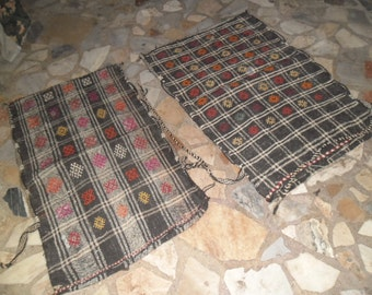 duble pillow rug, pillow rug kilim  rug,27x43inc, big  cushions, 2 pieces pillow, embroıdery turkish rug, handmade  rug,goatwool kilim rug