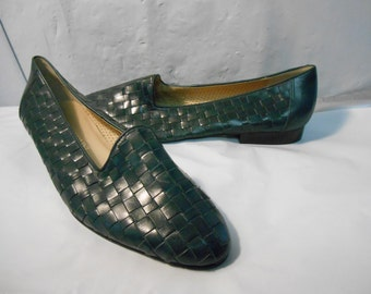 Enzo Angiolini Teal Blue-Green Woven Leather Flats Women's Size 10 Medium