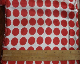 """100% Silk Charmeuse Dots - 1"""" Red Dots on White"""