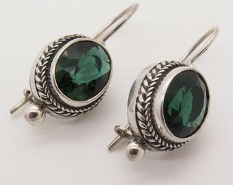 925 Sterling Silver Green Topaz Rope Detail Hook Earrings (7g)