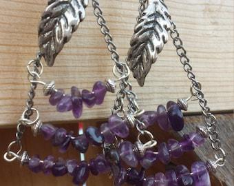 Amethyst Dangle Chandelier Earrings