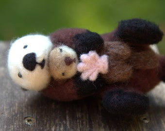 Felted Sea Otter-Needle Felted Sea Otter-Felted Animal-Sea Otter Gift-Plush Sea Otter and baby-Mini Sea Otter and baby-Sea Otter Doll