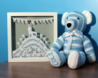 Personalised Christening gift, framed papercut, personalised papercut, christening frame, christening paper cut