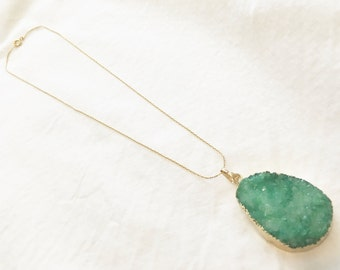 Green druzy necklace with gold plated chain