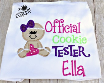 Christmas Girls Tshirt, Toddlers Gingerbread Tshirt,Infants Cookie Tester Tshirt,Girl Gingerbread Cookies,Personalized,Embroidered,Appliqued