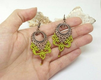 Bollywood earrings, yoga jewellery, macrame earrings, macrame jewellery, bollywood jewellery, boho earrings, yoga earrings, green earrings