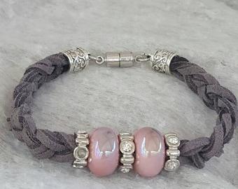 Braided Gray Suede bracelet