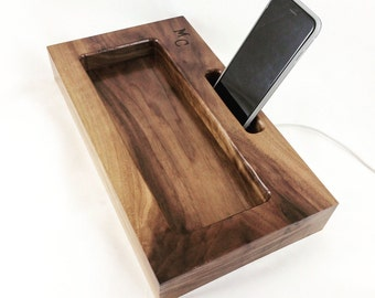 Walnut Docking Station, iPhone Dock, Tech Organizer, Personalized Gift, Fathers Day Gift, Anniversary Gift, Gift for Him, Groomsmen Gift