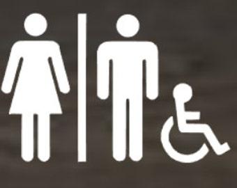 Bathroom Decal, Vinyl Sticker, Decoration, Custom, Unisex, Handicapped