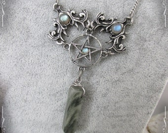 Pentagram necklace, pentacle, gothic necklace, elven necklace with labradorite and serpentine