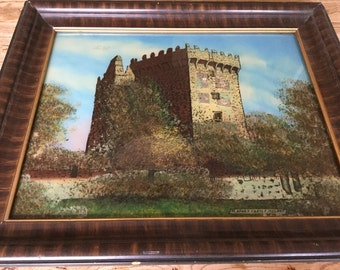 Antique 19th C Victorian Blarney Castle Reverse Painting on Glass Souvenir Painting Embedded with Bits of the Castle Blarney Stone