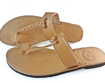 Toe Ring Sandals, Τress Sandals, Flat Sandals, Leather Sandals. Summer Flats. Handmade in Greece. Genuine leather.