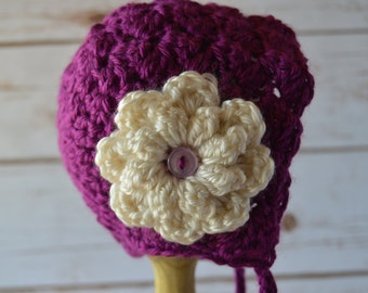 Crochet baby bonnet, crochet baby hat, baby bonnet, crochet photo prop, baby hat