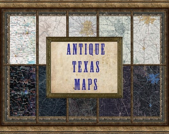 Collection of Texas City maps, digital download, antique maps, vintage maps, map prints, old maps