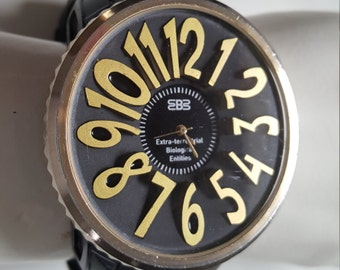 Reserved - 24-hour Sale - Mysterious MASSIVE Extra-terrestrial Biological Entities Rare Wrist Watch, 3D Bezel