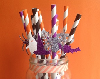 Halloween Party Straws Bat, Ghost, Witches Hat, Spider, Mask, cat and Cobweb glitter