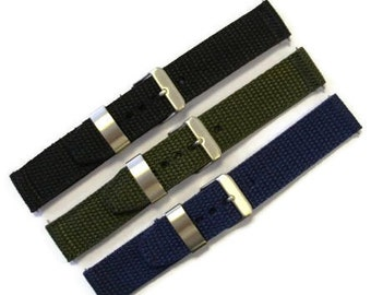 Heavy Duty Nylon Watch Strap/Watch Band 18mm 20 mm schwarz Khaki Navy