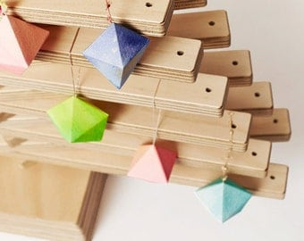 Crystal Pyramid POMS x 4 - 3D DIY Paper craft kit - Sustainable Eco-Friendly Xmas Christmas Decorations.