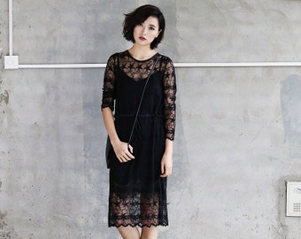 lace black dress,knee length,sheer,long sleeve,sexy,high fashion,elegant,for autumn.--E0311