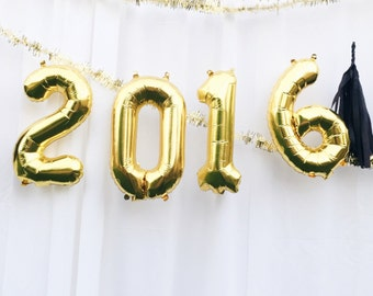 2016 letter balloons - gold or silver mylar foil letters -new years - banner with tassels kit