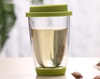 UNIHOM Double Wall Glass Tea / Coffee Tumbler Cup With Silicone Cap 400ml / 13.5oz - Lead Free, Thermal insulation, Heat-resistent