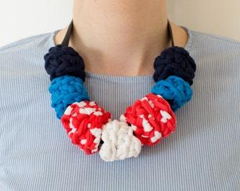 Blue, White + Striped Crochet Ring Necklace on Grosgrain Ribbon