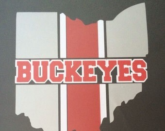 Ohio State Buckeye Decal 3 Colors Silver, Red & White