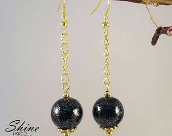 Midnight Black Pearl Dangle Earrings
