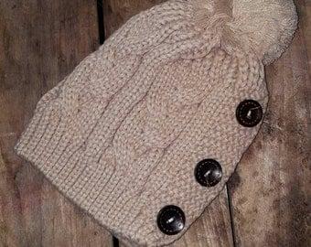 Knitted Beanie w/ 3 Button Detail