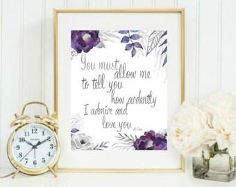 Jane Austen Pride and prejudice Mr. Darcy quote printable digital download