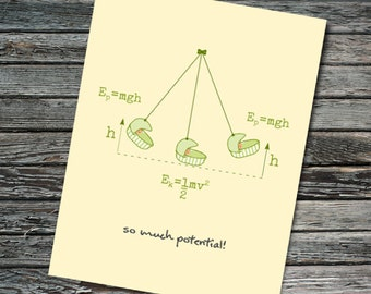 Baby Shower Potential Energy Card | Physics, Math Equations, Kinetic Energy | Teacher, Student, Professor, Scientist, Physicist, Nerdy