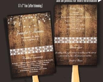 Printable Wedding Program Template, Fan Wedding Program, Barn Wedding Fan, Self Editable PDF template A075