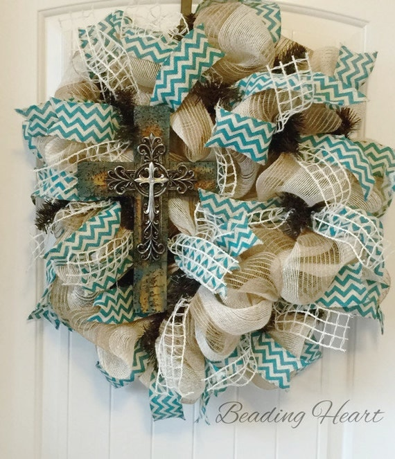 Burlap cross wreath cross wreath wreath with by Making wreaths