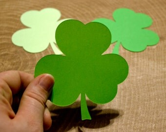 "Green 3.5"" Shamrock Die Cuts - Clover Die Cut - Party Decor - St Patrick's Day - Classroom Decor"