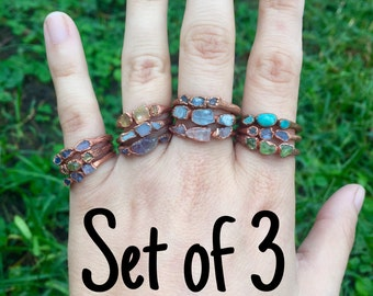 Set of 3 Copper Triple Stone Stacking Rings