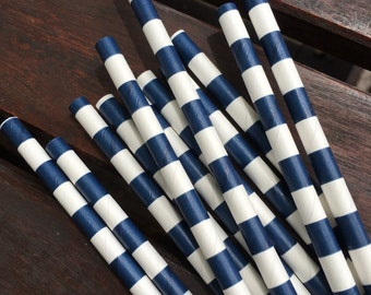 Navy Stripe Paper Straw - Set of 10