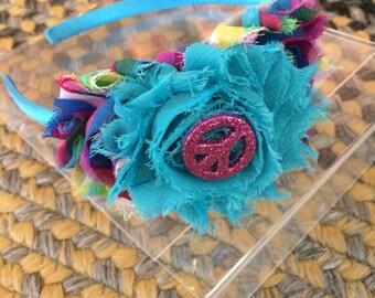Peace sign headband/ girls headband/ peace headband/ blue girls headband/ green headband