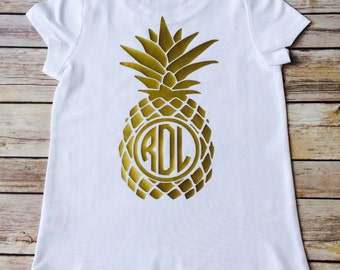 Pineapple t shirt monogrammed / toddler/ youth / & adult sizing