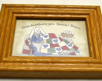 """Vintage Miniature TCR 1995 Print """"Grandmothers are Special People""""  Bunny Quilter Framed Print #1096"""